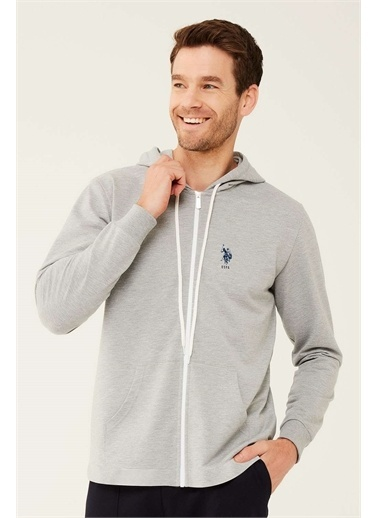 U.S. Polo Assn. U.S. Polo Assn. Erkek Lacivert Kapşonlu Ev Giyim Gri
